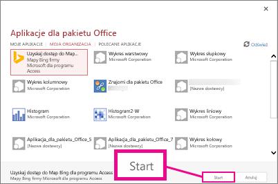 Okno dialogowe Aplikacje dla pakietu Office