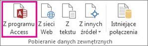 Przycisk Z programu Access na karcie Dane