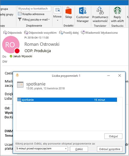 Okno dialogowe przypomnienia u góry wiadomości e-mail programu Outlook