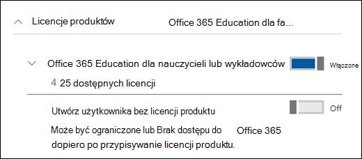 Zrzut ekranu przedstawiający Dodawanie użytkownika w pakiecie Office 365 z sekcją rozwiniętej licencji produktu.