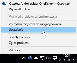 Menu wyświetlane po kliknięciu ikony aplikacji OneDrive prawym przyciskiem myszy.