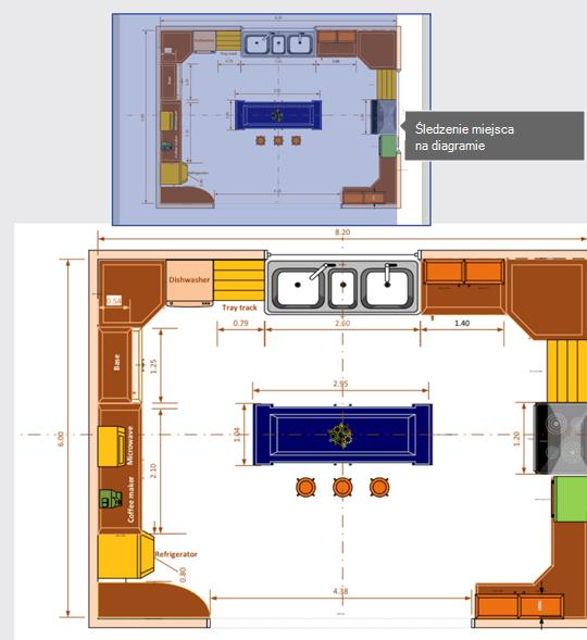Okno Kadrowanie (wyświetlane w górnej części tego obrazu) pomaga śledzić miejsce na diagramie.
