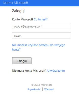 Okno dialogowe logowania w usłudze OneDrive