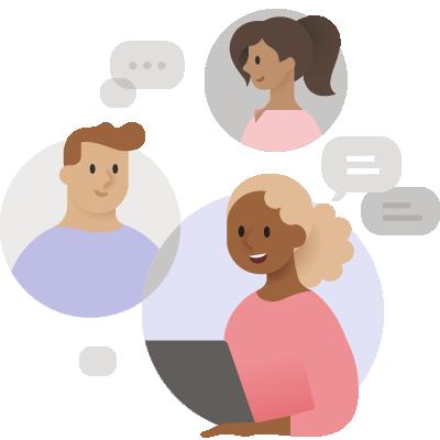 Ilustracja przedstawiająca trzy osoby prowadzące rozmowę na czacie