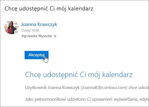 Zrzut ekranu przedstawiający zaproszenie w kalendarzu udostępnionym.