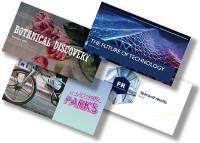 Cztery kolorowe slajdy tytułowe prezentacji programu PowerPoint