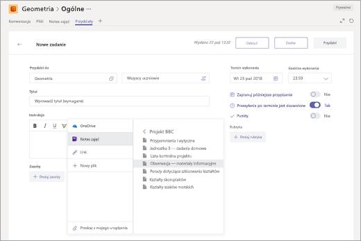 Wybieranie strony notesu zajęć programu OneNote w celu dołączenia do zadania w aplikacji Microsoft Teams