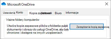 Karta kopia zapasowa w ustawieniach pulpitu dla usługi OneDrive