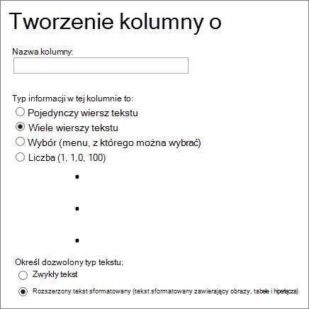 Tworzenie kolumny rozszerzonego tekstu sformatowanego