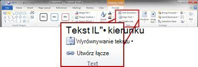Karta Formatowanie w obszarze Narzędzia do rysowania na wstążce programu Word 2010