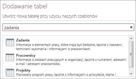 Pole wyszukiwania szablonów tabel na ekranie powitalnym programu Access.