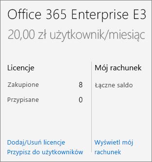 Dodawanie/usuwanie licencji na stronie Subskrypcje