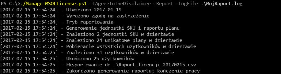 Wyniki uruchomienia skryptu Manage-MSOLLicense.