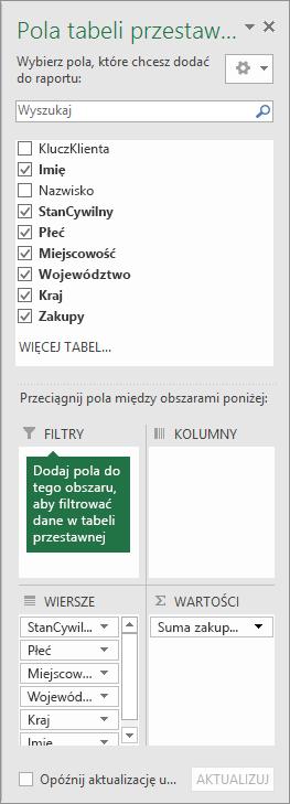 Obszar Filtry w okienku Pola tabeli przestawnej