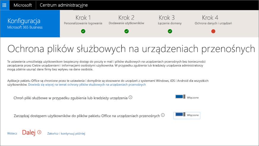 Zrzut ekranu przedstawiający stronę Chroń pliki służbowe na urządzeniach przenośnych