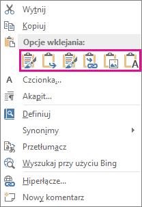 Grupa pięciu przycisków służących do wklejania wykresów programu Excel do programu Word