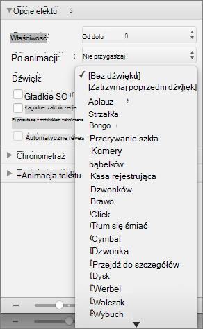 Zrzut ekranu przedstawia sekcji Opcje efektu w okienku animacje z rozwiniętym menu dźwięku.