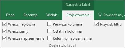 Obraz opcji Narzędzia tabel na Wstążce, kiedy jest zaznaczona komórka tabeli