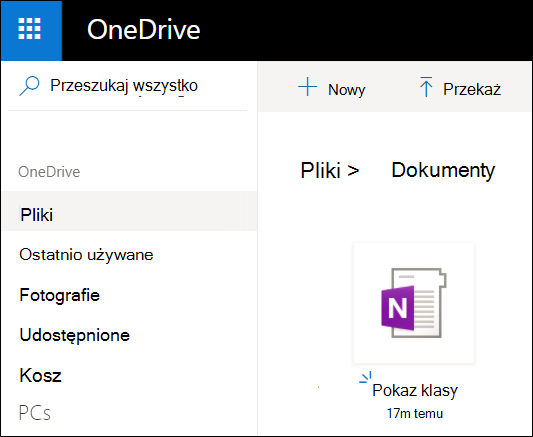 Folder dokumenty usługi OneDrive dla konta Microsoft