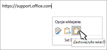 Wklej listę rozwijaną z kursorem myszy nad tekstem