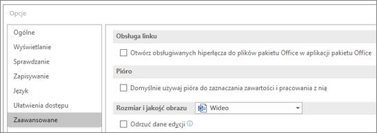 Okno dialogowe Opcje z wyróżnionym polem wyboru Otwieranie hiperłączy