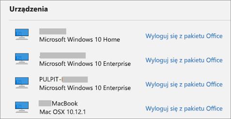 Wyświetla listę urządzeń z systemem Windows i Mac oraz link wylogowania z usługi Office na stronie account.Microsoft.com