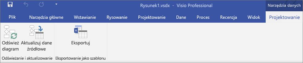Zrzut ekranu przedstawiający wyróżnione opcje wstążki Wizualizatora danych —Utwórz, Odśwież i Eksportuj