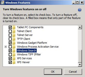 Windows Features dialog box