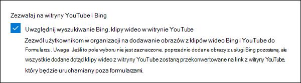 Ustawienie administratora programu Microsoft Forms dla usług YouTube i Bing