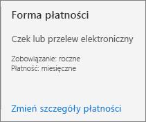 Interfejs użytkownika metody Mayment ze wskazaniem, że dla tej subskrypcji skonfigurowano płatności za pomocą faktury.