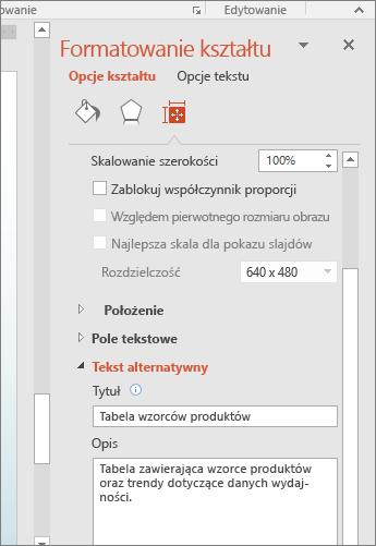 Zrzut ekranu przedstawiający okienko Formatowanie kształtu z polami obszaru Tekst alternatywny zawierającymi opis zaznaczonej tabeli