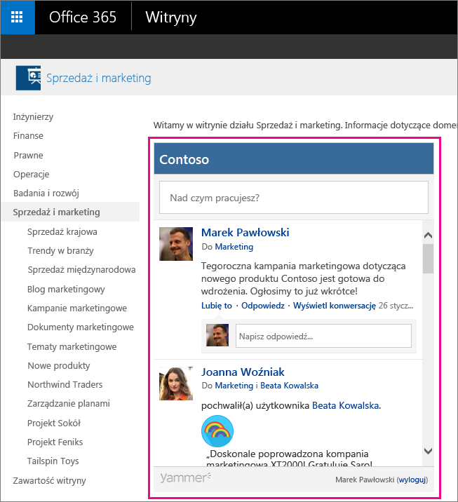 Kanał informacyjny grupy usługi Yammer osadzony na stronie programu SharePoint