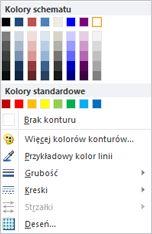 Opcje formatowania konturów kształtu tekstu WordArt w programie Publisher 2010