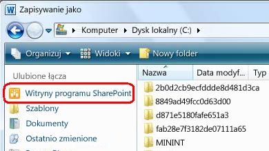Łącze do witryn programu SharePoint w oknie dialogowym Zapisywanie jako