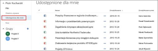 Dokumenty udostępnione Ci przez inne osoby w widoku Udostępnione dla mnie w usłudze OneDrive dla Firm.
