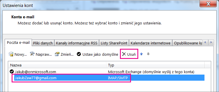 Wybierz konto usługi Gmail, które chcesz usunąć, a następnie wybierz pozycję Usuń.