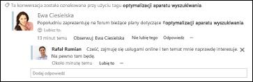 Aktualizacja w kanale aktualności informująca o użyciu przez inną osobę we wpisie znacznika, który obserwujesz.
