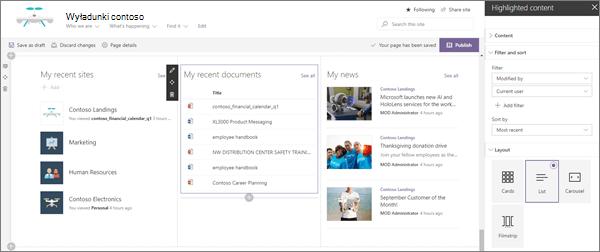 Przykładowe spersonalizowane dane wejściowe składnika Web Part dla nowoczesnej witryny wyładunkowej Enterprise w usłudze SharePoint Online