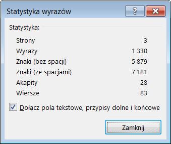 Okno dialogowe Statystyka wyrazów