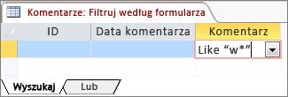 Filtrowanie według formularza