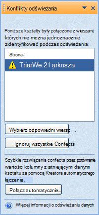 Okno Konflikty odświeżania zawierające listę kształtów, których nie można połączyć z powodu problemu z unikatowym identyfikatorem