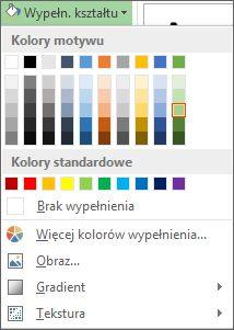 Menu opcji kolorów Wypełnienie kształtu