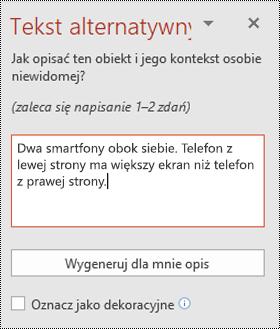 Okienko tekstu alternatywnego w programie PowerPoint dla systemu Windows