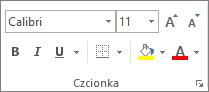 Opcje w grupie Czcionka