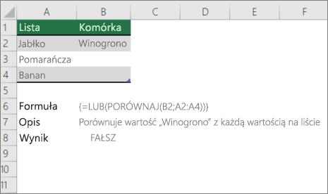 Przykład użycia lub DOKŁADNEgo funkcji w celu porównania jednej wartości z listą wartości