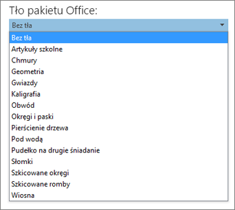 Lista Tło pakietu Office w programach pakietu Office 2013