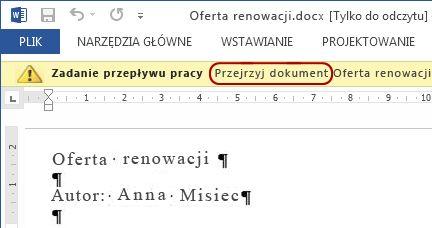 Tekst Zatwierdź dokument na pasku komunikatów w elemencie