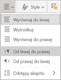 Opcje menu wyrównania akapitu w aplikacji OneNote Online.