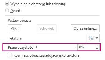 Suwak przezroczystości w okienku Formatowanie obrazu