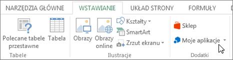 Zrzut ekranu przedstawiający część karta Wstawianie na wstążce programu Excel z kursorem wskazującym Moje aplikacje. Wybierz pozycję Moje aplikacje do aplikacji programu access dla programu Excel.